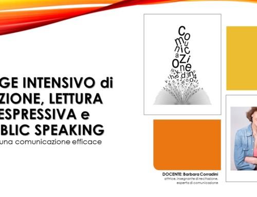 STAGE INTESIVO di DIZIONE, LETTURA ESPRESSIVA e PUBLIC SPEAKING